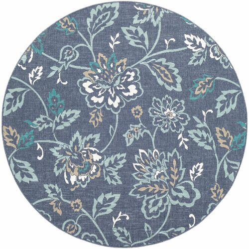 7.25' Oriental Patterned Blue and Gray Round Area Throw Rug - IMAGE 1