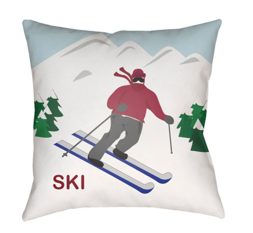 """20"""" Red and White """"SKI"""" Printed Square Throw Pillow Cover - IMAGE 1"""