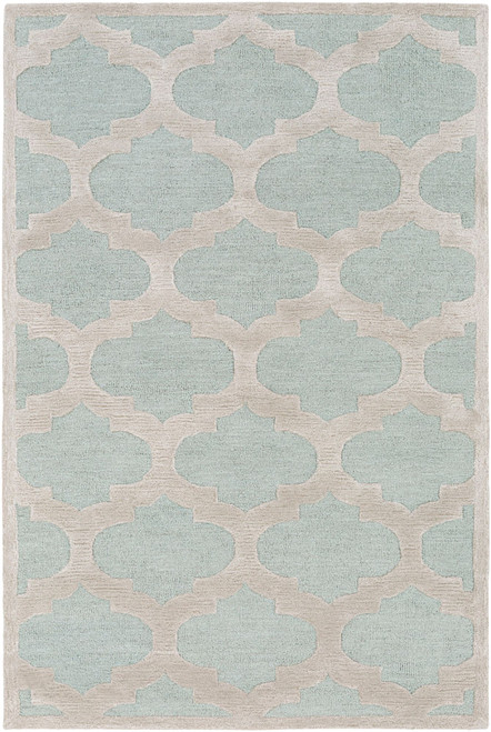 9' x 13' Mint Green and Beige Moroccan Style Rectangular Area Throw Rug - IMAGE 1