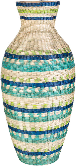 """21.75"""" Blue and Green Decorative Table Accent Bamboo Vase - IMAGE 1"""