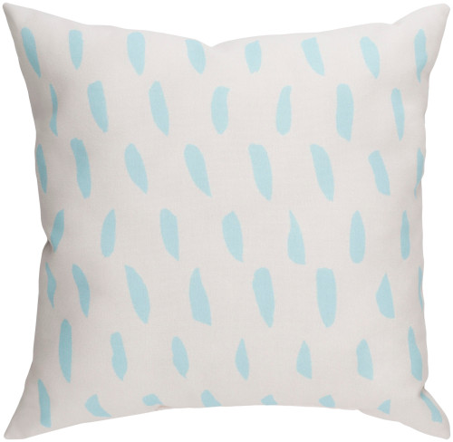 """20"""" White and Blue Square Throw Pillow Cover with Knife Edge - IMAGE 1"""