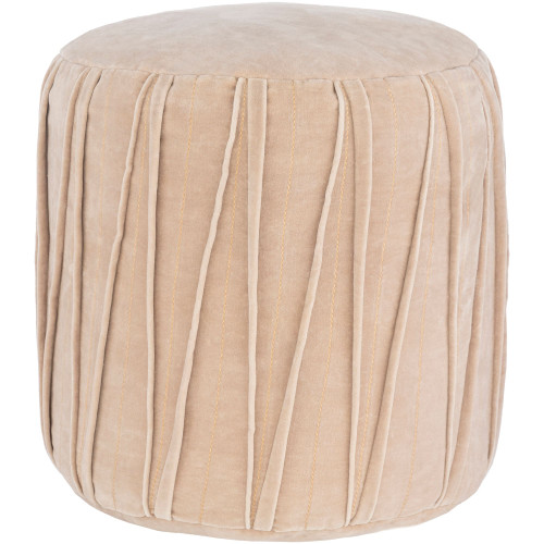 "16"" Ivory Stitched Patterned Cylindrical Pouf Ottoman - IMAGE 1"