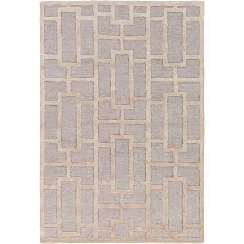 6' x 9' Geometric Patterned Brown and Beige Rectangular Area Rug - IMAGE 1