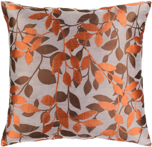 """18"""" Orange and Brown Square Throw Pillow with Knife Edge - Down Filler - IMAGE 1"""
