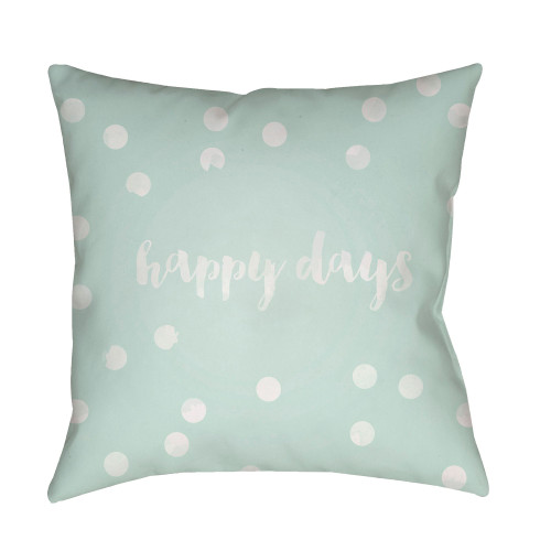 """20"""" Green and White """"Happy days"""" Printed Square Throw Pillow Cover - IMAGE 1"""