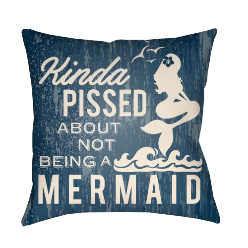 """22"""" Blue and Ivory Mermaid Typography Printed Square Throw Pillow Cover - IMAGE 1"""