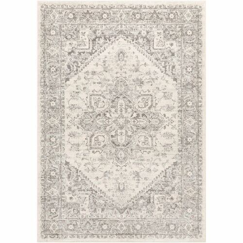"6'7"" x 9' Oriental Pattern Gray and Khaki Rectangular Machine Woven Area Rug - IMAGE 1"