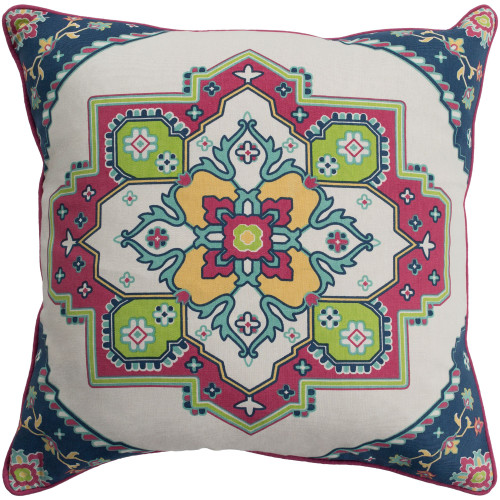 """20"""" White and Red Square Screen Printed Throw Pillow - Poly Filled - IMAGE 1"""
