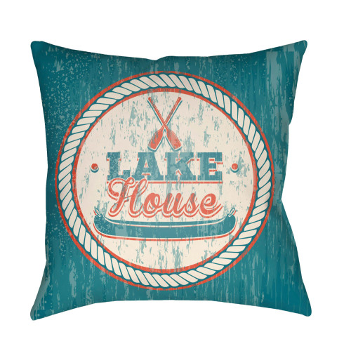 "22"" Teal Blue and Beige ""LAKE House"" Printed Square Throw Pillow Cover with Knife Edge - IMAGE 1"