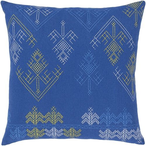 """18"""" Blue and Yellow Square Throw Pillow Cover - IMAGE 1"""