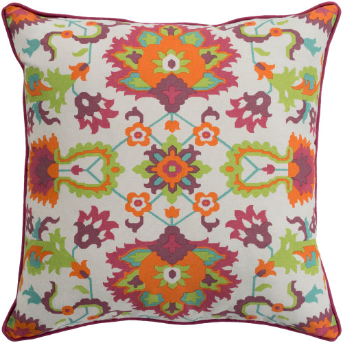 "18"" Orange and Green Floral Pattern Throw Pillow Cover - IMAGE 1"
