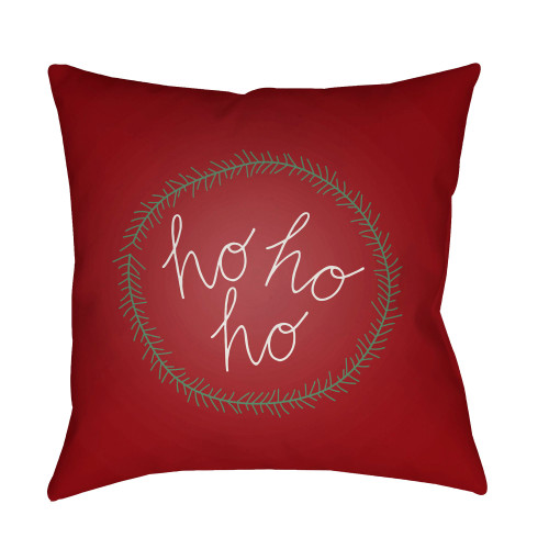"""20"""" Red and White """"Ho Ho Ho"""" Printed Square Throw Pillow Cover - IMAGE 1"""