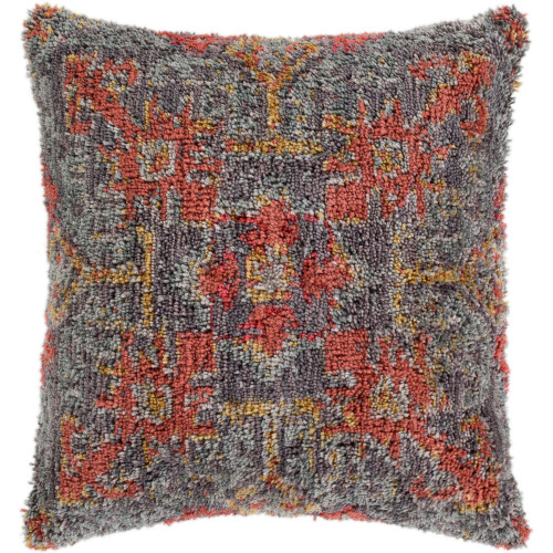 """20"""" Gray and Red Square Throw Pillow Cover - IMAGE 1"""