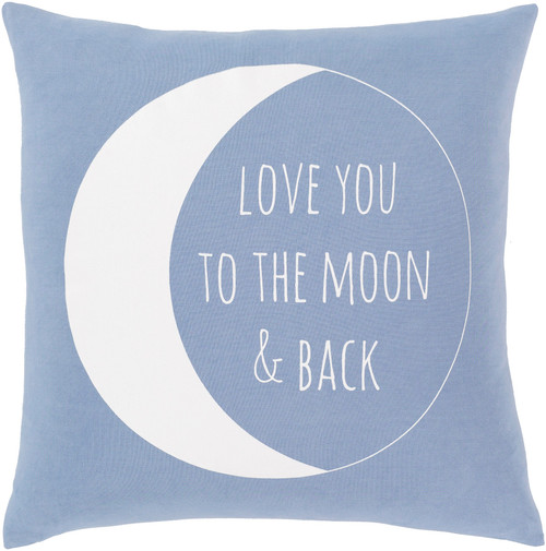 """18"""" Blue and White Screen Printed Square Throw Pillow - Down Filler - IMAGE 1"""