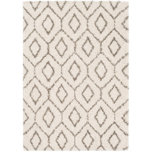 """6'7"""" x 9'6"""" Trellis Diamond Patterned Ivory and Brown Rectangular Hand Woven Area Rug - IMAGE 1"""