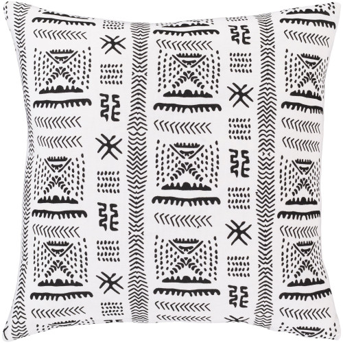 """18"""" White with Black Printed Pattern Square Throw Pillow Cover - IMAGE 1"""