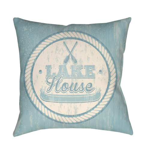 "22"" Pale Blue and Beige ""LAKE House"" Printed Square Throw Pillow Cover with Knife Edge - IMAGE 1"
