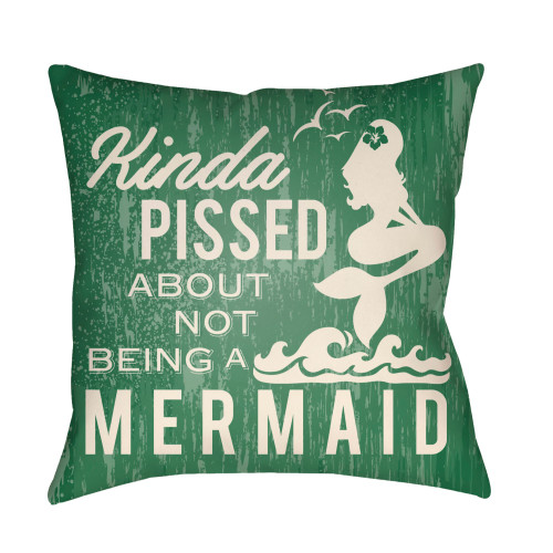 """22"""" Green and Ivory Mermaid Typography Printed Square Throw Pillow Cover - IMAGE 1"""
