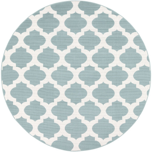 7.25' Trellis Patterned Blue and White Round Area Throw Rug - IMAGE 1
