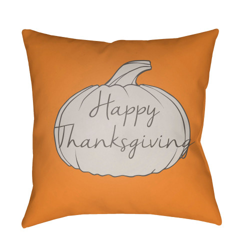 """20"""" Gold Yellow and White """"Happy Thanksgiving"""" Printed Square Throw Pillow Cover - IMAGE 1"""