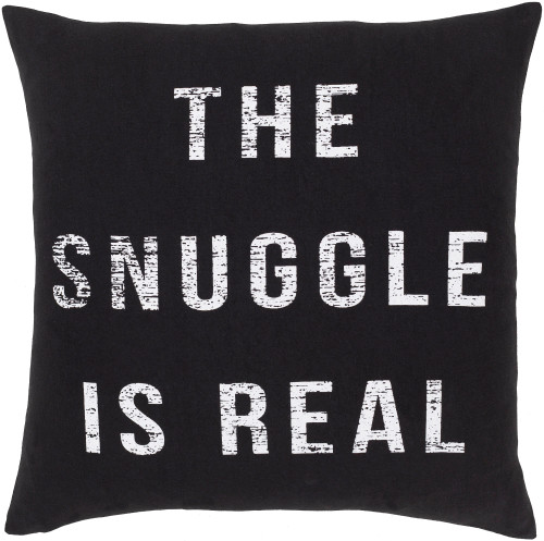 """18"""" Black and White Screen Printed Square Throw Pillow - Down Filler - IMAGE 1"""