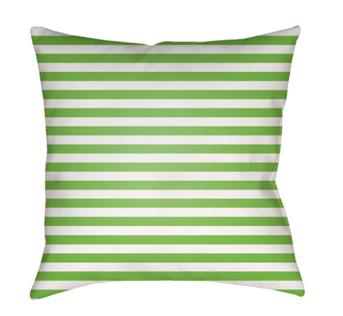"""20"""" White and Green Striped Square Throw Pillow Cover with Knife Edge - IMAGE 1"""