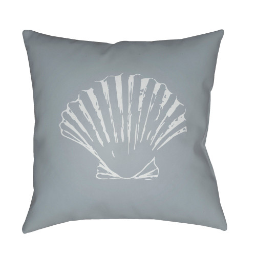 """20"""" Gray and White Seashell Printed Square Throw Pillow Cover - IMAGE 1"""