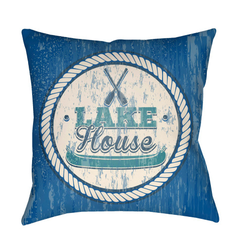 "22"" Sea Blue and Beige ""LAKE House"" Printed Square Throw Pillow Cover with Knife Edge - IMAGE 1"