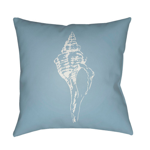"""20"""" Blue and White Seashell Printed Square Throw Pillow Cover - IMAGE 1"""