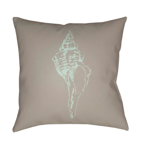"""20"""" Brown and Green Seashell Printed Square Throw Pillow Cover - IMAGE 1"""