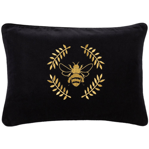 """20"""" Black and Gold Colored Rectangular Throw Pillow - Poly Filled - IMAGE 1"""