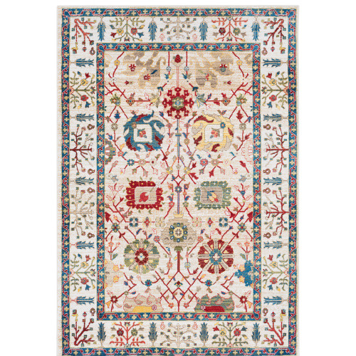 3' x 5' White and Blue Transitional Floral Pattern Rectangular Machine Woven Rug - IMAGE 1