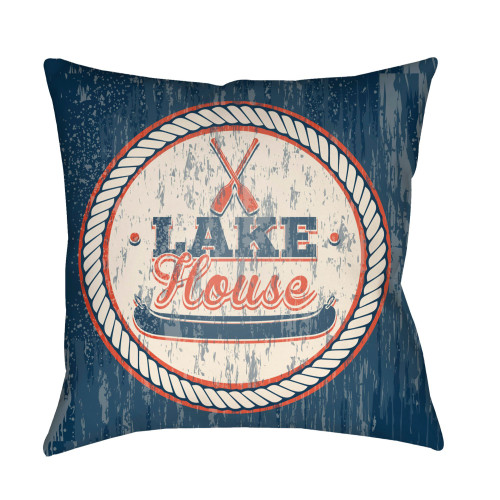 "22"" Blue and Beige ""LAKE House"" Printed Square Throw Pillow Cover with Knife Edge - IMAGE 1"