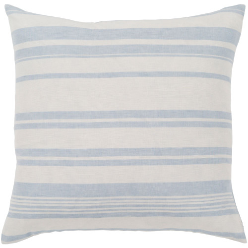 """18"""" Blue and Beige Striped Pattern Woven Square Throw Pillow Cover - IMAGE 1"""