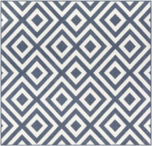 7.25' Charcoal Blue and White La Fiorentina Pattern Square Area Throw Rug - IMAGE 1