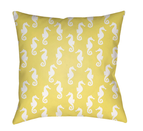 "20"" Yellow and White Seahorse Printed Square Throw Pillow Cover with Knife Edge - IMAGE 1"