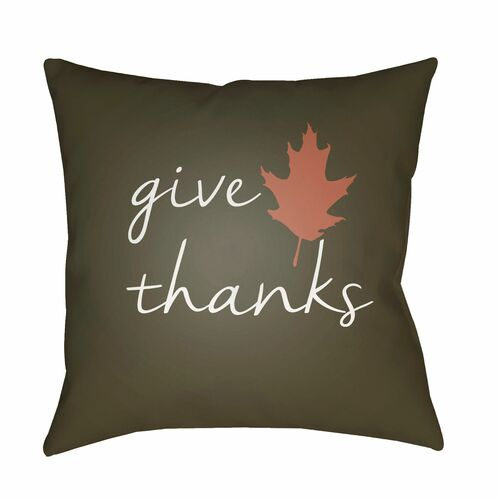 "20"" Brown and White ""Give Thanks"" Printed Square Throw Pillow Cover - IMAGE 1"