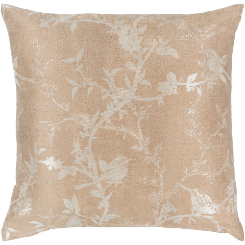 """18"""" Brown and Silver Bird Printed Woven Square Throw Pillow Cover with Knife Edge - IMAGE 1"""
