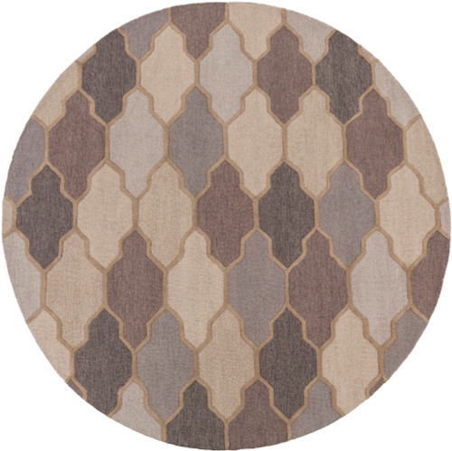 3.5' Trellis Patterned Gray and Brown Hand Tufted Round Area Throw Rug - IMAGE 1