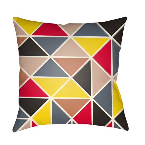 "20"" Bright Red and Yellow Geometric Square Throw Pillow Cover - IMAGE 1"