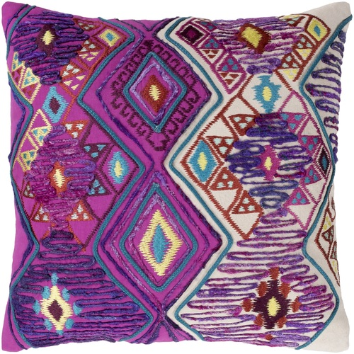 "20"" Purple and Red Diamond Pattern Square Throw Pillow - Down Filler - IMAGE 1"