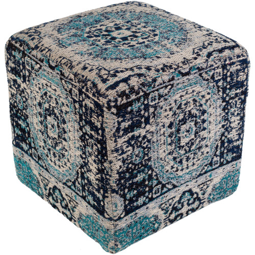 """18"""" Gray and Blue Distressed Finish Cubic Pouf Ottoman - IMAGE 1"""