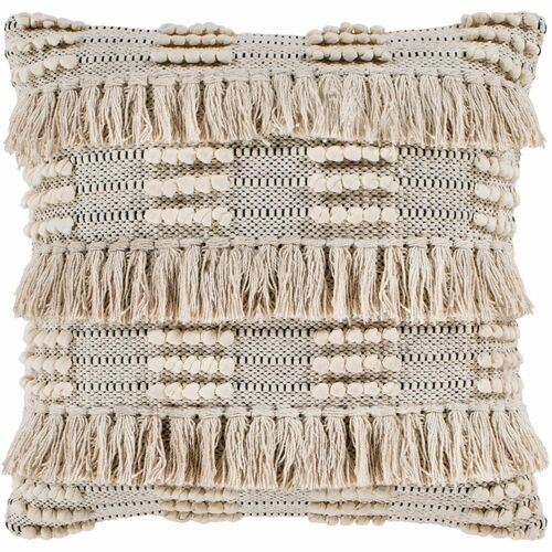 """22"""" Tan Beige and Black Fringe Tassels Square Throw Pillow Cover - IMAGE 1"""