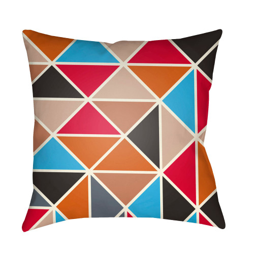 """20"""" Red and Burnt Orange Geometric Square Throw Pillow Cover - IMAGE 1"""