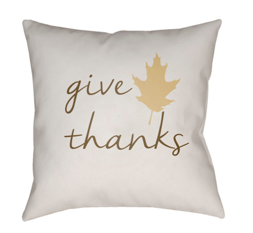 "20"" Brown and Green ""Give Thanks"" Throw Pillow Cover - IMAGE 1"