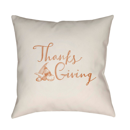 """20"""" White and Orange """"Thanks Giving"""" Printed Square Throw Pillow Cover - IMAGE 1"""