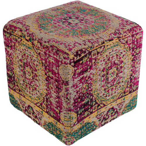 """18"""" Pink and Green Distressed Finish Cubic Pouf Ottoman - IMAGE 1"""