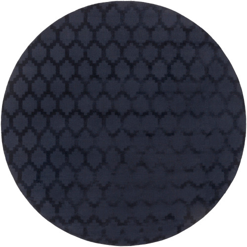 """9'9"""" Moroccan Trellis Patterned Navy Blue Round Wool Area Throw Rug - IMAGE 1"""
