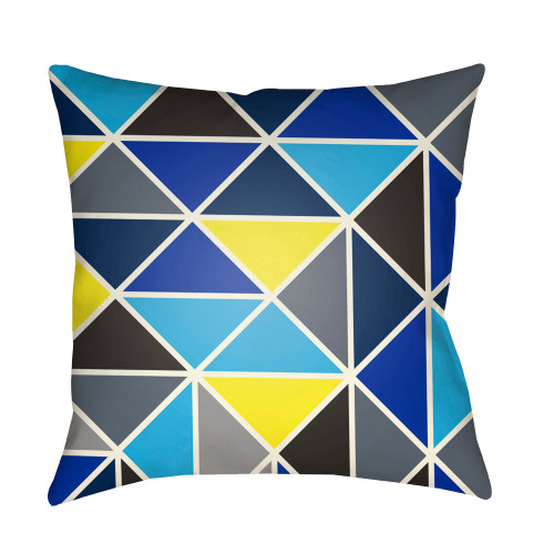 """20"""" Sky Blue and Yellow Geometric Square Throw Pillow Cover - IMAGE 1"""