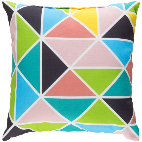 """20"""" Lime Green and Pale Pink Geometric Square Throw Pillow Cover - IMAGE 1"""